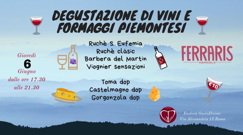 Degustazione di Vini e Formaggi piemontesi
